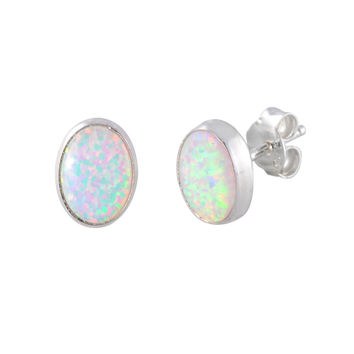 Sterling Silver Opal Gemstone Stud Earrings Iridescent Pearl Oval 7mm x 9mm