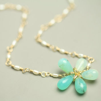 Blue Peruvian Opal Flower Necklace 18k Gold by fussjewelry on Etsy