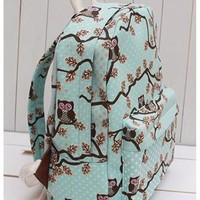 Retro Owl Floral Print Canvas Backpack-green from styleonline