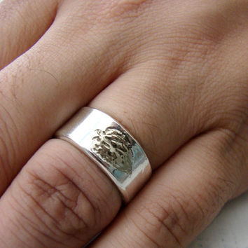 Simple Rustic Silver Wedding Ring with Leaf Impression for Mountain Wedding