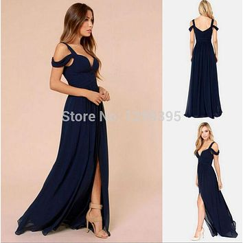 Navy Blue Long Bridesmaid Dresses for Weddings Long Prom Dress V neck with Sexy Side Slit Vestido de Madrinha de Casamento Longo