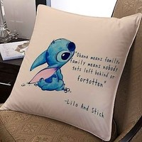 disney lilo and stitch quote ohana means family cover pillow case two side 20x20