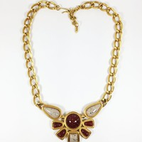 Egyptian Revival Avon Signed Necklace Vintage 1970s 1980s Bib Style Statement Choker Gold Tone Red Tan Speckled Lucite Beads