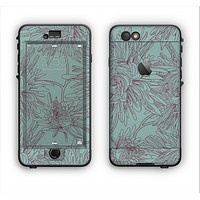 The Teal Aster Flower Lined Apple iPhone 6 LifeProof Nuud Case Skin Set