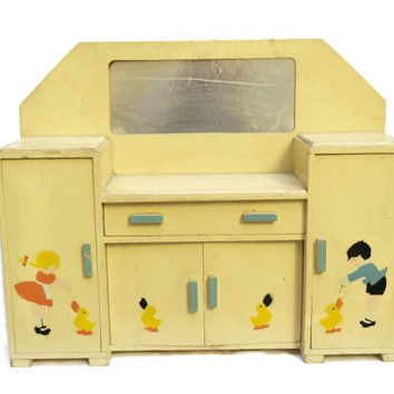 FRENCH VINTAGE Dolls Furniture Dresser. Toy Dressing Table.