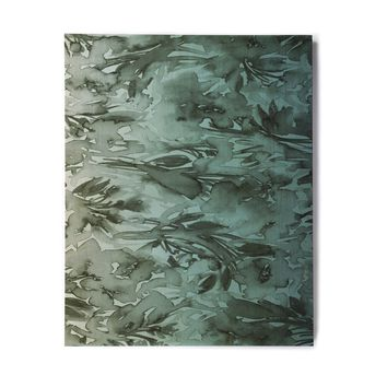 """Ebi Emporium """"Forever Flowers, Teal Ombre"""" Teal Gray Watercolor Birchwood Wall Art"""