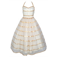 VINTAGE 1940s Gold Stripe Chiffon & Tulle Party Dress w Shawl