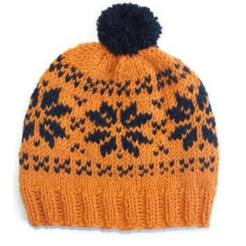 Fair Isle Beanie Hat with Pom-Pom, Unisex Winter Hat, Hand Knit orange - dark blue Hat, Womens Beanie Hat / Hand Knitted