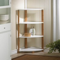 Stylish Bamboo Corner Shelf Unit