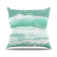 "Monika Strigel ""Maui Waves"" Teal Green Throw Pillow"