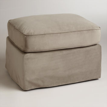 Mink Brown Velvet Loose-Fit Luxe Ottoman Slipcover - World Market