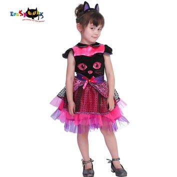 Eraspooky 2-4T Cute Cat Tutu Dress Girls Animal Halloween Costume for kids Miss Kitty Toddler Cosplay Tail Carnival Fancy Dress