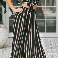 Widen Your Horizons Black Vertical Stripe Pattern Sleeveless Crop Top Loose Wide Leg Pants Two Piece Set - Sold Out