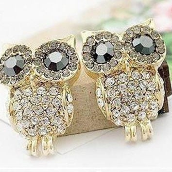 SALE Lose MOney 2014 HOT aliexpress Nice Fashion Jewelry Austria Crystal Imitation Diamond Stud Owl Earring New  EP-0011
