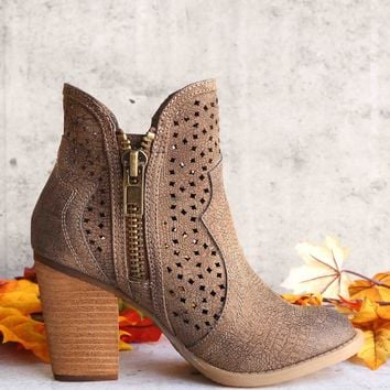 not rated - gretchen laser cut ankle bootie - tan