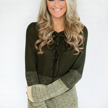 Ombre Lace Up Olive Sweater