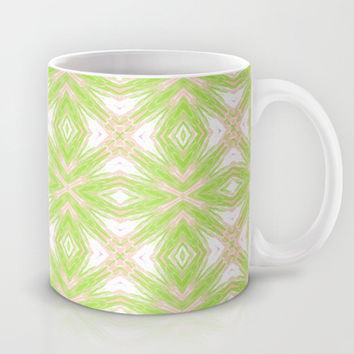 Peach And Green Abstract Print  Mug by KCavender Designs