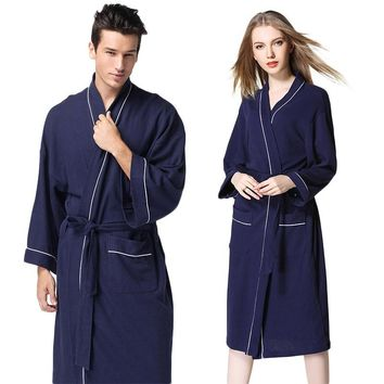 1Pcs Bathrobe Cotton dressing gown Male and female pajamas Nightgown