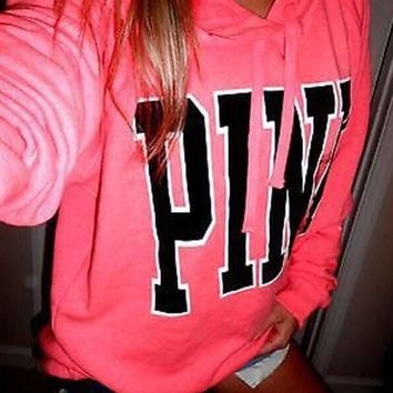 PINK: print hooded long sleeved sweater
