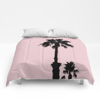 Palm Tree Silhouettes On Pink Comforters by ARTbyJWP