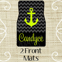 Custom Personalized Set of Car Floor Mats - Front set, Monogrammed Car Mats, Chevron, Anchor Black Gray Lime or ANY Color(s)