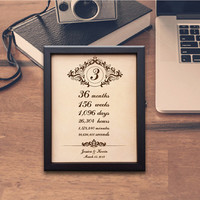 Lik75 Leather Engraved Wedding Third Anniversary three years time week month personalized gift
