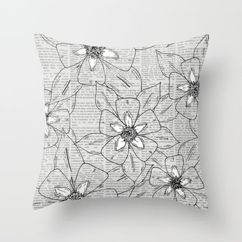 Aquilegia Flower Sketch Throw Pillow by JustV