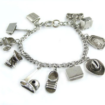 1940's Sterling Silver Charm Bracelet - 11 Charms Many 3D, Movable, and Unique - 1939 World's Fair