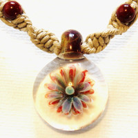 Hemp Necklace with Glass Flower Pendant
