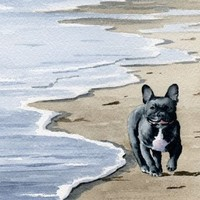 """French Bulldog at the Beach"" Dog Art Print Signed by Artist DJ Rogers"
