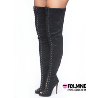 ZIGINY PIARRY LACE UP THIGH HIGH BOOT - BLACK (PRE-ORDER)