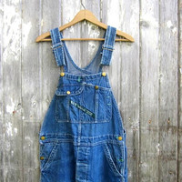 Patched Bib Overalls Distressed Key Imperial denim Jean Bibs Blue Jeans Farmer Button Fly Work Pants size 34 x 34