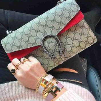 Gucci Trending Ladies Shopping Bag Letter Print Leather Metal Chain Crossbody Shoulder Bag Handbag Red I