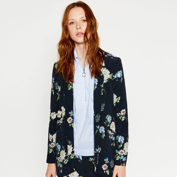 ASYMMETRIC PRINTED JACKET - BLAZERS-WOMAN | ZARA United Kingdom