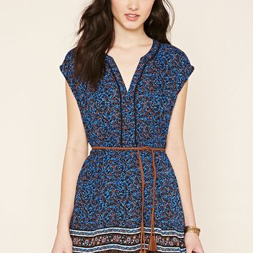 Belted Ornate Print Dress