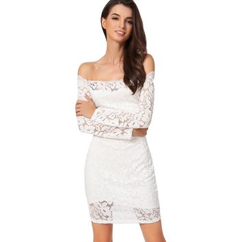 Sexy Women Mini Dress Bodycon Floral Lace Long Sleeves Off Shoulder Lining Elegant Party Dress Black/White