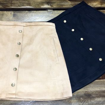 Faux Suede Button Down Skirt