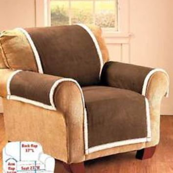 Brown Microsuede & Sherpa Chair Cover Furniture Protector From Stains Pets Kid's