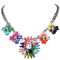 Colorful Flower Stylish Statement Necklace