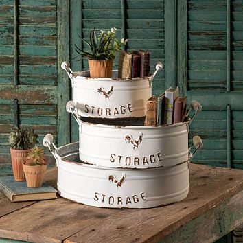 Farmhouse Primitive Nested Round STORAGE BINS Set of 3 with Handles Cottage