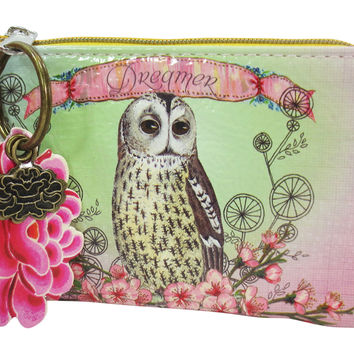 "Papaya Art Vintage Owl and Flower Art with Lotus Charm "" Dreamer"" Coin Purse"