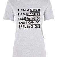 **'I Am A Girl' Slogan T-Shirt by Oh My Love   Topshop