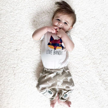 2016 summer style infant clothes baby boy clothing sets cotton fox printed short sleeve t-shirt+pants toddler baby boys clothes