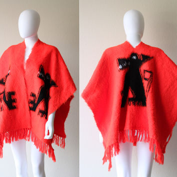 Vintage Mexican Guardian Dog Red Wool Sweater Poncho Cape