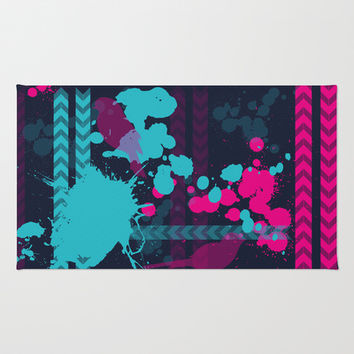 Pink Teal Pattern Area & Throw Rug by C Designz