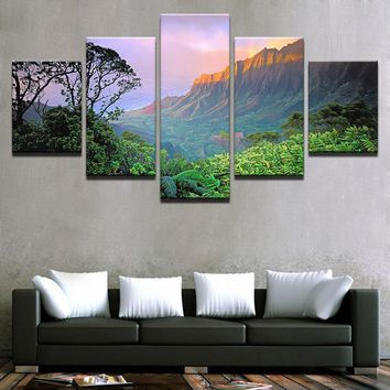Wall Art Canvas Prints Posters Living Room Decor 5 Pieces Forest Mountains Paintings Sunset Natural Landscape Pictures Framework