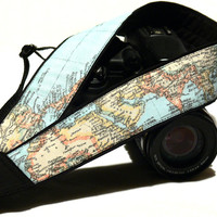 World Map Camera Strap. Gift For Photographer. DSLR, SLR, Mirrorless Camera Strap. Camera Accessories.