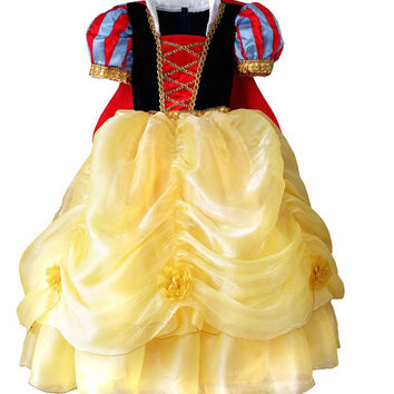 Snow White Girl's Princess Dress and Headband Costume Set Sizes 4-9yr Express Delivery Before Halloween! High Class Boutique Handmade.
