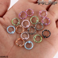 20pcs/lot Mix Colors Stainless Steel Round Circulars Horseshoes Barbell Ring Eyebrow Nose Rings Body Piercing Jewelry