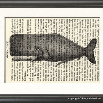 Whale Art Print over Moby Dick Book Page   by QuaintandCurious